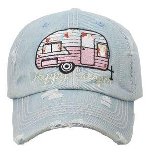 Kbethod Vintage Happy camper distressed ball hat
